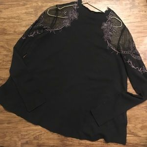 Free People Black Daniella Top Ribbed Mesh Large